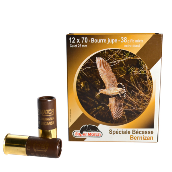 SUPER MATCH Cartouche de chasse MARRON BECASSE MIXTE BJ Cal.12X70 BERNIZAN