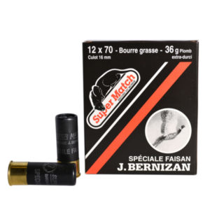 SUPER MATCH Cartouche de chasse NOIRE FAISAN BG Cal.12X70 BERNIZAN